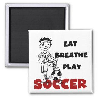Mangez respirent des T-shirts et des cadeaux du fo Magnets Pour Réfrigérateur