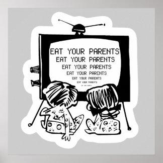 MANGEZ VOS PARENTS HYPNO TV - rétro affiche drôle