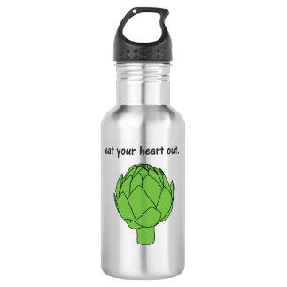 mangez votre coeur. (artichaut) bouteille d'eau en acier inoxydable