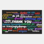 Manières multiples de dire le Merci dans beaucoup Sticker En Rectangle