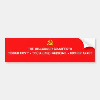Manifeste d'Obamunist Autocollant De Voiture