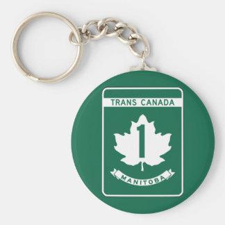 Manitoba, signe de route du Transport-Canada Porte-clé Rond