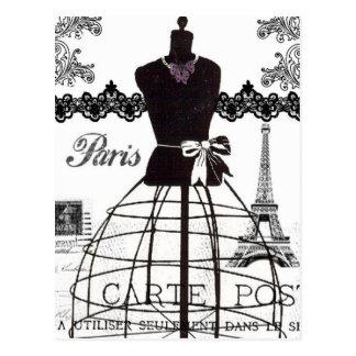 Mannequin blanc noir de mode de Paris Carte Postale