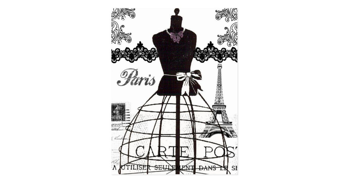 mannequin blanc noir de mode de paris cartes postales zazzle. Black Bedroom Furniture Sets. Home Design Ideas