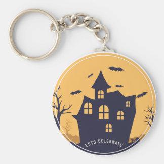Manoir éffrayant et battes de Halloween Porte-clés