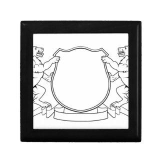 Manteau de crête de chiens de bouclier héraldique petite boîte à bijoux carrée