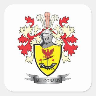 Manteau de crête de famille de MacDonald des bras Sticker Carré