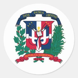 Manteau de la République Dominicaine d'autocollant Sticker Rond