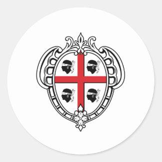 Manteau de la Sardaigne (Italie) des bras Autocollant Rond