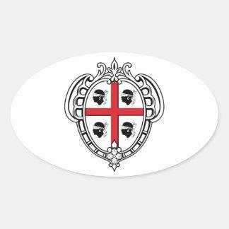 Manteau de la Sardaigne (Italie) des bras Stickers Ovales