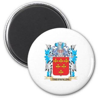 Manteau de Theobalds des bras - crête de famille Magnet Rond 8 Cm