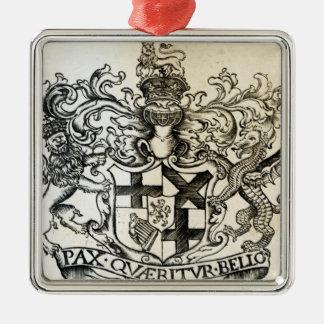 Manteau des bras d'Oliver Cromwell Ornement Carré Argenté