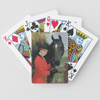 Manteau rouge équestre d'équitation d'image vintag jeux de cartes