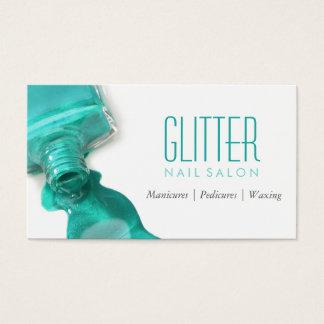 Manucure turquoise de salon d'ongle de cartes de visite
