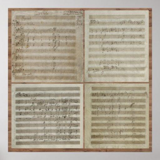 Manuscrit de concert de violon de Mozart Affiche