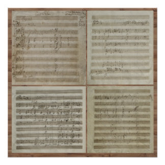 Manuscrit de concert de violon de Mozart Posters