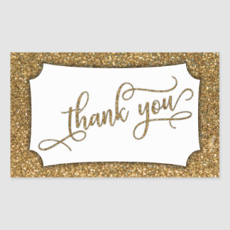 Manuscrit de Merci, parties scintillantes d'or et Sticker Rectangulaire