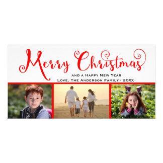 Manuscrit de photo du Joyeux Noël trois - carte Modèle Pour Photocarte