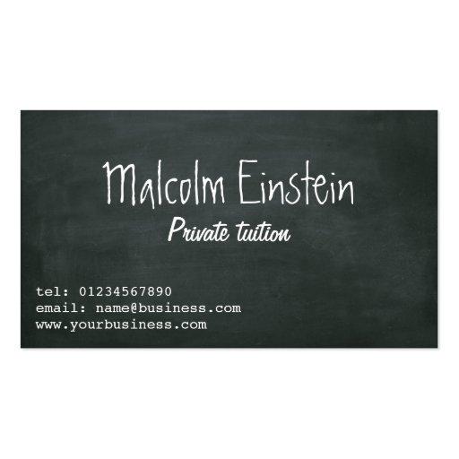 Manuscrit de tableau noir de tuteur privé cartes de visite professionnelles