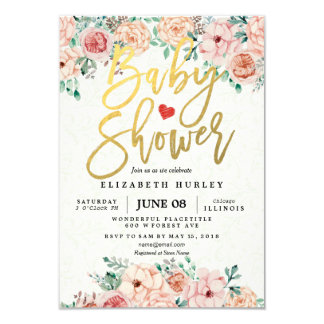 Manuscrit d'or et invitation floral de baby shower