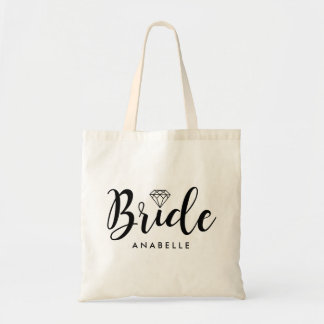 """Manuscrit élégant """"jeune mariée """" sacs en toile"""