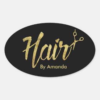 Manuscrit et ciseaux modernes d'or de coiffeur sticker ovale
