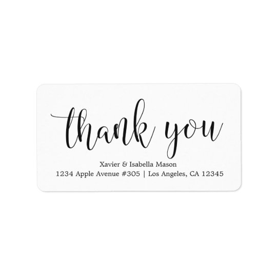 Manuscrit noir de Merci - couleur faite sur Étiquette D'adresse
