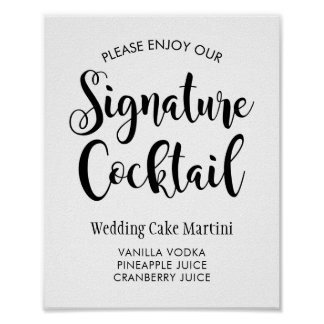 Manuscrit noir du signe | d'affiche de cocktail de poster