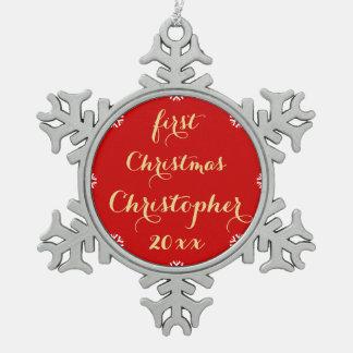 Manuscrit nommé d'or de Faux Noël fait sur Ornement Flocon De Neige Pewter