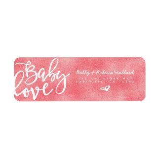 Manuscrit rose moderne d'amour de bébé des étiquette d'adresse retour