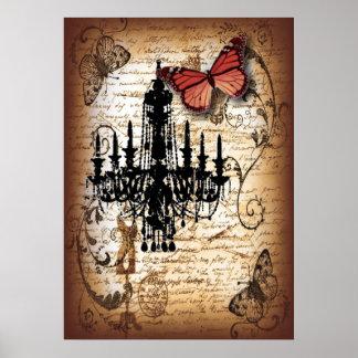 manuscrits vintages de papillon de lustre de fondo poster