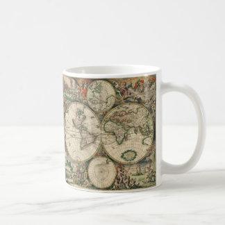 Map de Gerard Van Schagen's du monde, 1689 Mug Blanc