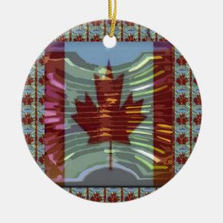 MapleLeaf : Représentation des valeurs canadiennes Ornement Rond En Céramique