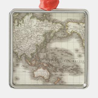 Mappemonde - carte de globe ornement carré argenté