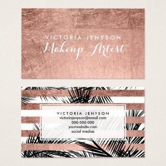 Maquillage chic de faux de palmiers roses modernes cartes de visite