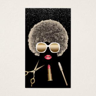 Maquillage et salon de beauté moderne d'Afro de Cartes De Visite