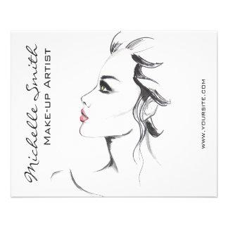Maquillage noir et blanc de femme d'encre prospectus 11,4 cm x 14,2 cm