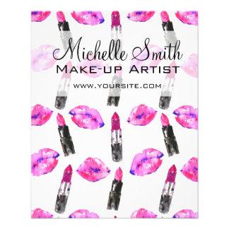 Maquillage rose de motif de rouge à lèvres de prospectus 11,4 cm x 14,2 cm