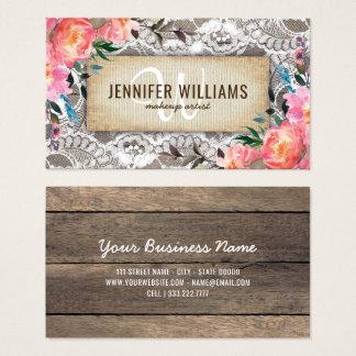 Maquilleur élégant épousant floral rustique cartes de visite