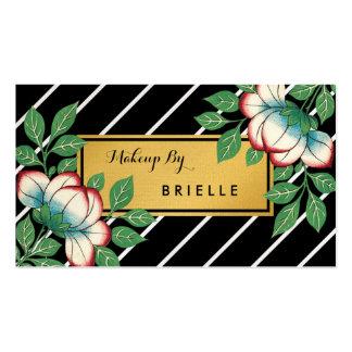 Maquilleur floral vintage d'or de rayures carte de visite standard