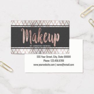 Maquilleur géométrique d'or rose moderne chic cartes de visite