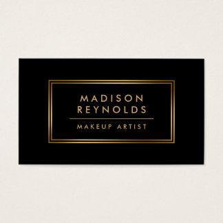 Maquilleur noir à la mode moderne de cadre d'or cartes de visite