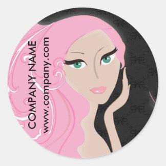 maquilleur noir rose de salon de coiffure de SPA Sticker Rond