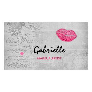Maquilleur rose grunge vintage Girly de baiser de Carte De Visite Standard