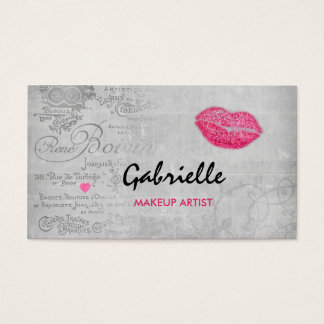 Maquilleur rose grunge vintage Girly de baiser de Cartes De Visite