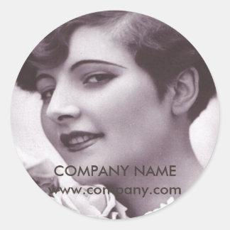 maquilleur vintage de salon de coiffure de beauté sticker rond