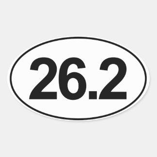 Marathon 26,2 milles d'autocollant ovale (blanc) sticker ovale