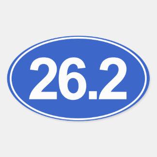 Marathon 26,2 milles d'autocollant ovale (bleu) sticker ovale