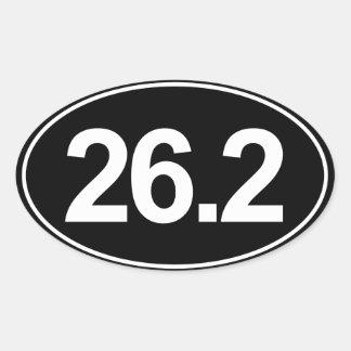 Marathon 26,2 milles d'autocollant ovale (noir) sticker ovale