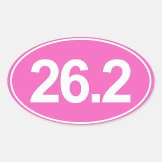 Marathon 26,2 milles d'autocollant ovale (rose) sticker ovale